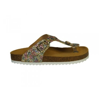 Prachtige slipper in multi glitter