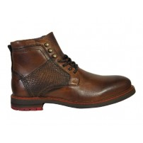 Trendy halfhoge veterschoen in cognac combi