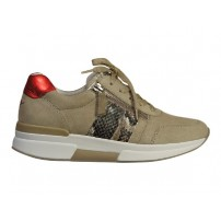 Trendy sneaker uitgevoerd in mooie combi met rollingsoft zool en uitneembaar voetbed.
