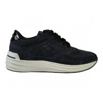 Trendy sneaker in blauw panter printje