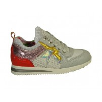 Trendy sneaker in wit/rood combi