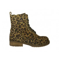 Trendy halfhoge veterschoen met rits in panter print